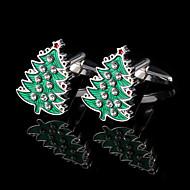 Boże Narodzenie drzewa Spinki męskie obecne Francja koszula spinki do mankietów rhinestone przyciski prezenty dla męskiej biżuterii z