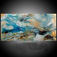 billiga Oljemålningar-Hang målad oljemålning HANDMÅLAD - Abstrakt Medelhavet / Moderna Inkludera innerram / Sträckt kanfas