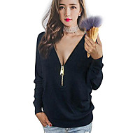 V-hals Dame - Ensfarvet Plusstørrelser T-shirt Bomuld