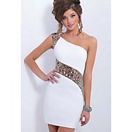 לבן כתפיה אחת מיני תחרה, אחיד - שמלה צינור נדן רזה Party מועדונים בגדי ריקוד נשים / פאייטים