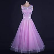 Standardní tance Šaty Dámské Výkon Organza Lycra Korálky Bez rukávů Přírodní Šaty