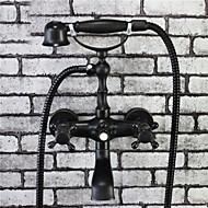 伝統風 バスタブとシャワー ハンドシャワーは含まれている with  セラミックバルブ 二つ for  オイルブロンズ , 浴槽用水栓