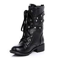 Черный-Женский-Для прогулок Повседневный-Дерматин-На толстом каблуке-Удобная обувь-Ботинки