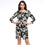 Ženski Haljina Vintage / Ulični šik A kroj Print,Do koljena Okrugli izrez Poliester / Spandex