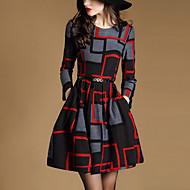 Mulheres Moda de Rua Evasê Vestido Geométrica Acima do Joelho