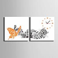 Moderne / Nutidig Andre Wall Clock,Kvadrat Lerret40 x 40cm(16inchx16inch)x2pcs/ 50 x 50cm(20inchx20inch)x2pcs/ 60 x