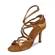 baratos Sapatilhas de Dança-Mulheres Sapatos de Dança Latina / Sapatos de Jazz / Sapatos de Salsa Cetim Sandália / Salto Pedrarias / Presilha / Fru-Fru Salto Personalizado Personalizável Sapatos de Dança Preto / Camel