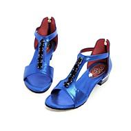 baratos Sapatos de Tamanho Pequeno-Mulheres Sapatos Couro Ecológico Verão Conforto / Tira no Tornozelo Sandálias Caminhada Salto Robusto / Salto de bloco Dedo Aberto
