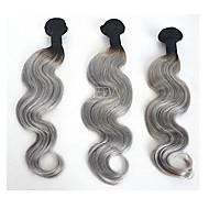 İnsan saç örgüleri Düz Brezilya Saçı Vücut Dalgası 3 Ay 3 Parça saç örgüleri