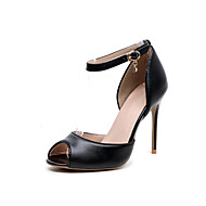 Women's Shoes Leather Spring Fall Ankle Strap Heels Stiletto Heel Peep Toe Crystal Buckle For Dress Party & Evening Black