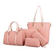 女性 バッグ オールシーズン PVCバッグ バッグセット 5個の財布セット のために カジュアル ベージュ コーヒー ブルー ピンク