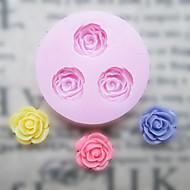 Cakes For DIY Üç Delik Çiçek Silikon Kalıp Fondan Kalıplar Şeker Craft Araçları Reçine çiçekler Kalıp Kalıplar