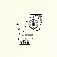 Moderne/Contemporain Fleurs / Botaniques Personnages Inspiré Mariage Famille Amis Horloge murale,Rond Nouveauté Plastique Autres 56*55