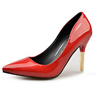 Hæle-PU-Komfort-Dame-Sort Rød-Fritid-Lav hæl