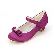 お買い得  フラワーガールシューズ-女の子 靴 シルク 春夏 フラワーガールシューズ ヒール ラインストーン / リボン のために ピンク / ライトブラウン / クリスタル / 結婚式 / パーティー