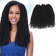 preiswerte -Pre-Schleife Crochet Borten Haarzöpfe Insel Twist 40cm 100 % Kanekalon-Haar Rabenschwarz Geflochtenes Haar Haarverlängerungen