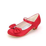billige Små høje hæle til teenagere-Pige Sko Silke Forår sommer Sko til blomsterpiger Hæle Rosette for Bryllup Fest / aften Rød Blå Lys pink Lysebrun Krystal