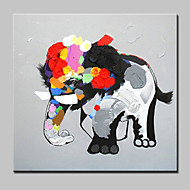 billiga Djurporträttmålningar-HANDMÅLAD Djur Tecknat olje,Moderna Europeisk Stil En panel Kanvas Hang målad oljemålning For Hem-dekoration