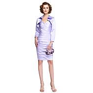 מעטפת \ עמוד רצועות באורך  הברך סאטן שמלה לאם הכלה  עם בד בהצלבה על ידי LAN TING BRIDE®