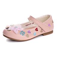 olcso -Lány Cipő Bőrutánzat Tavaszi nyár Kényelmes / Virágoslány cipők Lapos Strasszkő / Rátétek / Glitter mert Fehér / Rózsaszín / Party és Estélyi