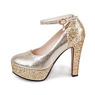 Topuklular-Düğün Rahat Parti ve GeceParıltılı-Kalın Topuk-Altın Gümüş-Kadın