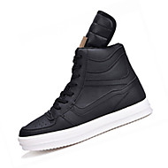 cheap Black High Tops-Men's Sneakers Fall Winter PU Office & Career Casual Flat Heel Lace-up White Black