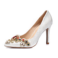 cheap Wedding Shoes-Women's Shoes Glitter Spring Summer Heels Stiletto Heel Pointed Toe Rhinestone Imitation Pearl Appliques Stitching Lace Flower for