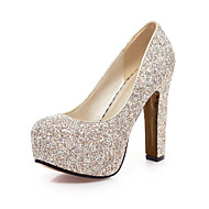 cheap Wedding Shoes-Women's Shoes Glitter Spring Summer Heels Chunky Heel Round Toe Sequin for Wedding Office & Career Party & Evening Gold White Blue