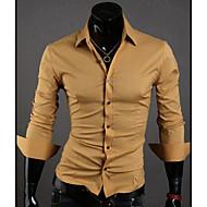 Langærmet Herre Ensfarvet Afslappet/Hverdag Arbejde Formelle Skjorte,Polyester