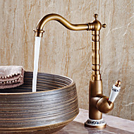 Contemporary Antique Modern Centerset Widespread Ceramic Valve One Hole Single Handle One Hole Antique Copper , Bathroom Sink Faucet
