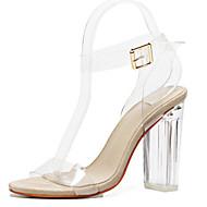 baratos Sapatos Femininos-Mulheres Sapatos Borracha Primavera / Verão Conforto / Inovador Sandálias Caminhada Salto Robusto / Heel translúcido / Salto de bloco
