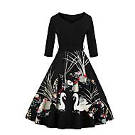 Ženske Vintage Izlasci Plus veličine A kroj Haljina,Jednobojni 3/4 rukava V izrez Do koljena Pamuk Poliester Ljeto Jesen Visoki struk