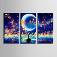 LED canvas-taide Maisema Moderni European Style,3 paneeli Kanvas Pystysuora Tulosta Art Wall Decor For Kodinsisustus