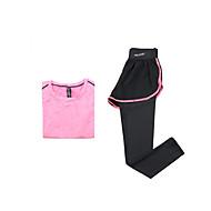 Mulheres Conjunto Camiseta e Calça de Corrida Manga Curta Secagem Rápida Respirável Conjuntos de Roupas para Ioga Exercício e Atividade