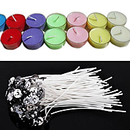 cheap Candles & Candleholders-50Pcs/Set 20Cm Quality Candle Wicks Cotton Core Waxed With Sustainers For Diy Making Candles Gifts