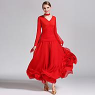 Ballroom Dance Dresses Women's Performance Chiffon / Milk Fiber Ruffles Long Sleeve Natural Dress / Neckwear
