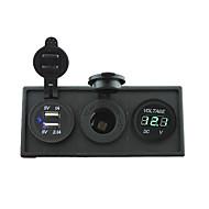 12v / 24v power charger3.1a usb-port og 12v voltmeter måler med holder boliger panel til bil båd lastbil rv (med grøn voltmeter)