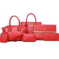 Mulher Bolsas Todas as Estações Couro Ecológico Conjuntos de saco Ziper para Formal Azul Preto Vermelho Amarelo Fúcsia