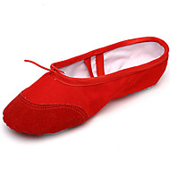 "Women's Ballet Suede Fabric Full Sole Practice Beginner Indoor Outdoor Performance Flat Heel Black Red Blushing Pink Under 1"" 1"" - 1 3/4"""