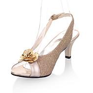 baratos Sapatos de Tamanho Pequeno-Mulheres Sapatos Couro Ecológico Primavera / Verão Sandálias Salto Agulha Peep Toe Flor Dourado / Preto / Prata / Festas & Noite