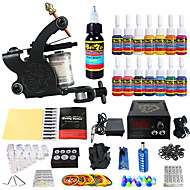 billige Tatoveringssett for nybegynnere-Tattoo Machine Startkit - 1 pcs tattoo maskiner med 14 x 5 ml tatovering blekk, Profesjonell LED strømforsyning No case 1 x legering tatovering maskin for fôr og skyggelegging
