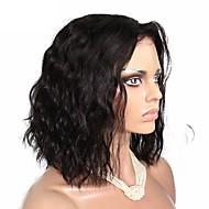 女性 人毛レースウィッグ 人毛 フロントレース グルテンフリーレースフロント 180% 密度 ルーズウェーブ 前後なし かつら ブラック ミディアム丈 ロング丈 黒人女性用 100%手作業縫い付け ナチュラルヘアライン