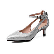 billige -60%-Dame-Kunstlær-Liten hælHøye hæler-Fritid-Beige Grå Sølv Rød
