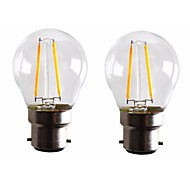 2W B22 LED лампы накаливания G45 2 светодиоды COB Диммируемая Тёплый белый 160-200lm 2700-3500K AC 220-240 AC 110-130V