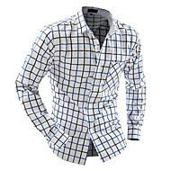 Langærmet Krave Herre Blå Gul Farveblok Simpel Afslappet/Hverdag Skjorte,Bomuld