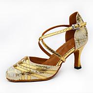 """billige Moderne sko-Dame Latin Glimtende Glitter Høye hæler Innendørs Ytelse utendørs Trening Nybegynner Gummi Spenne Utsvingende hæl Gull Svart Sølv 2 """"- 2"""