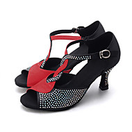 cheap Dance Shoes-Women's Latin Shoes / Jazz Shoes / Modern Shoes Elastic Fabric Sandal / Heel Rhinestone / Buckle Flared Heel Customizable Dance Shoes Brown / Red / Black / Indoor / Performance / Leather