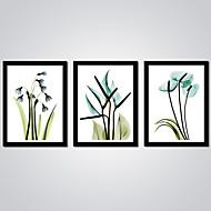 Afdrukken Op Opgespannen Doek Abstract Bloemenmotief/Botanisch Modern,Drie panelen Canvas Horizontaal Print Muurdecoratie For