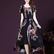 ieftine -Pentru femei Mărime Plus Size Ieșire Sofisticat Larg / Swing Rochie - Imprimeu Midi / Vară