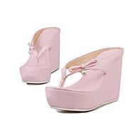 Terlik & Flip-flop-Düğün Elbise Parti ve Gece-Kulüp Ayakkabı-PU-Dolgu Topuk Creepers-Beyaz Siyah Pembe-Kadın